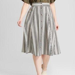 Universal Thread striped button-front midi skirt